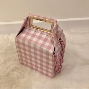 Pink gingham takeout box purse